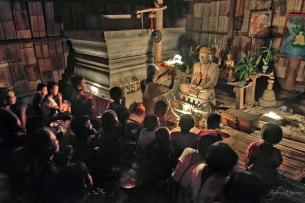 northern thailand hilltribes - jeffrey warner - nam bor noi karen village nam bor noi karen village - evening buddhist ceremony