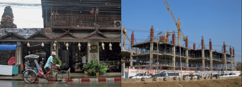 on the left of the image is an old man in chiang mai, Thailand and he riding a bicycle; on the right-side is a scene of a concrete building and vehicle traffic
