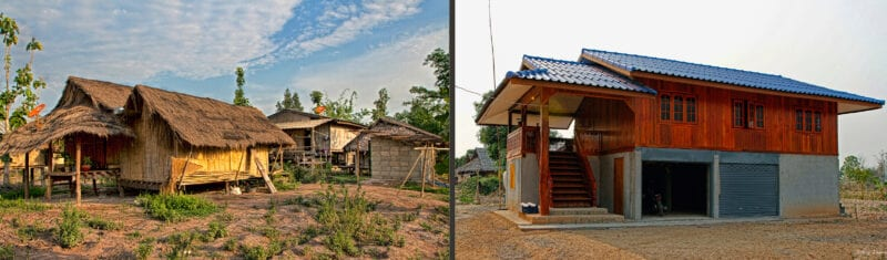 on the left of this contrasting image is a bamboo house with a grass roof; on the left is modern wooden house