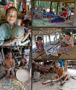 thailand's hilltribe people making handicrafts