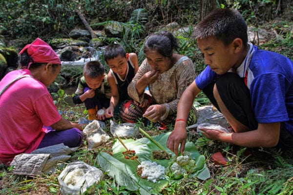 lahu hilltribe women and youth are eating lunch in the forest